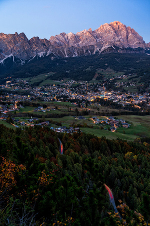 Late evening view of beautiful Cortina dAmpezzo town, located in the heart of the Dolomites in an alpine valley, Italy.