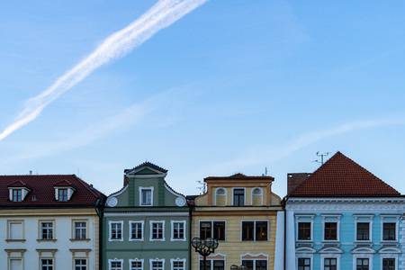 Traditional guild houses in Europe. Facade of historical houses in Hradec Kralove, Czech Republic. Stock Photo