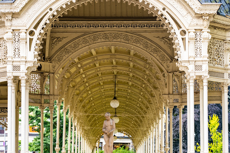 Detail view of old Market Colonnade, Karlovy Vary (Carlsbad), Czech Republic.