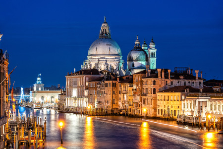 Night shot of Grand Canal and Basilica Santa Maria della Salute, Venice, Italy. Reklamní fotografie