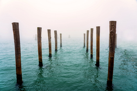 Wooden posts in the water.