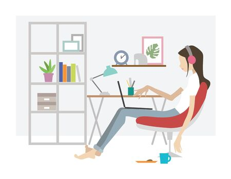 Girl working at the computer at home. Simple flat vector illustration