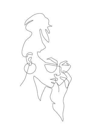 Young woman portrait. Continuous line drawing. Fashion vector illustration