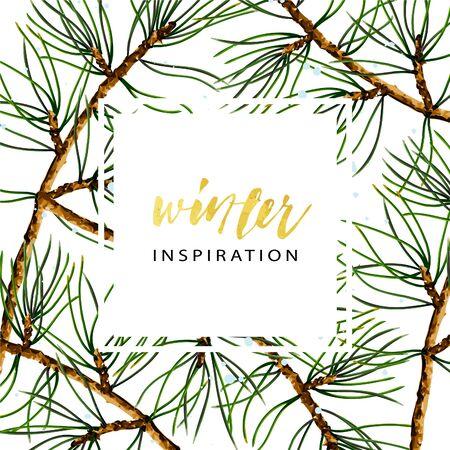 Plantilla de cubierta de vector de ramas de pino, ilustración botánica realista. Fondo de pantalla de invierno estacional.