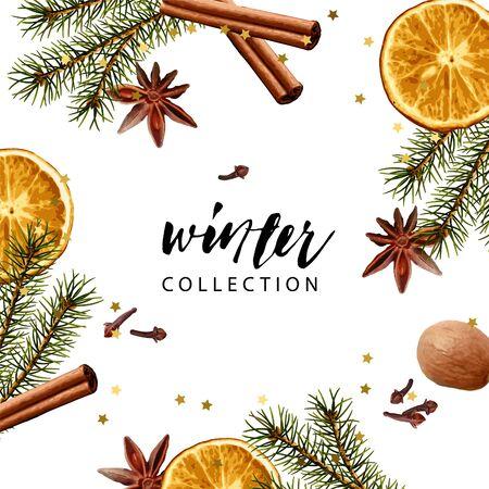 Vector frame template. Fir branches, dry orange slice, cinnamon stick, nutmeg, cloves, anise. Realistic illustration style. Seasonal winter wallpaper. Ilustração