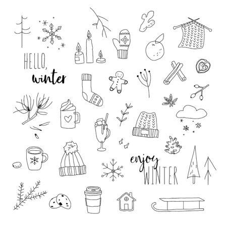 Winter doodles set. Black and white ine art. Vector illustration