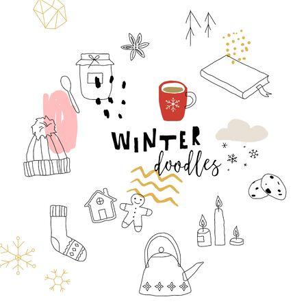 Winter doodles background. Line art vector illustration