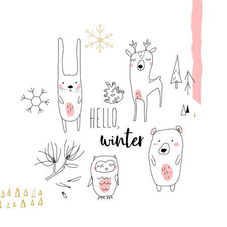 Winter doodles forest animals. Line art vector illustration