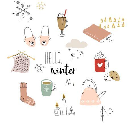 Winter doodles set. Seasonal vector flat illustration.