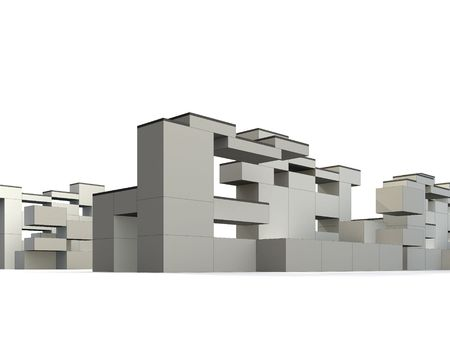 3d rendered exterior, minimalism and constructivism style building photo