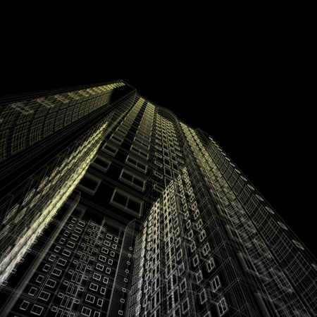 Architecture blueprint of skyscraper on black background Stock Photo - 5621805
