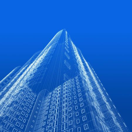 Architecture Blueprint Of Skyscraper On Blue Background Stock