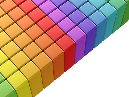 Colorful rainbow cubes. 3d render on white background photo
