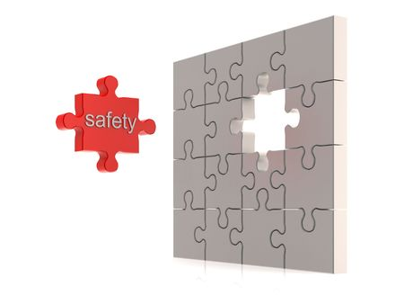 Safety puzzle concept. High quality 3d render photo