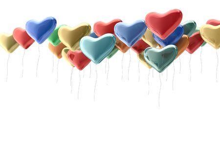 Rainbow heart balloons. 3d render on white background photo