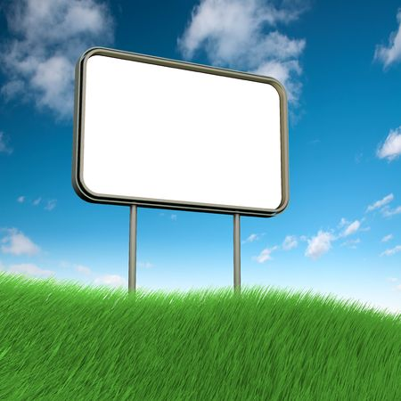 Billboard on grass. High resolution 3d render photo