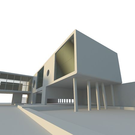 Modern building project. High quality 3d render Stock Photo - 6684701