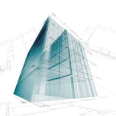 Architecture engineering. My personal concept architectural project Stock Photo