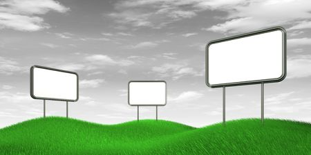 Billboards on b&w sky. High resolution 3d render photo