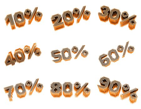 Sale % set. 3d render on white background Stock Photo