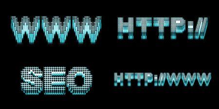 SEO words set. High quality 3d render on white