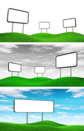 Billboards on grass. High resolution 3d render photo