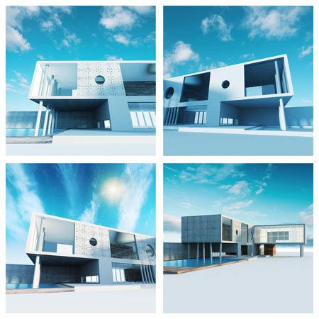 functionalism: Modern building set. High quality 3d render