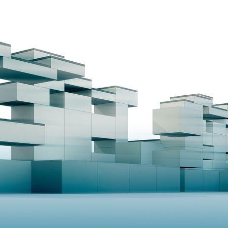 constructivism: 3d render minimalism and constructivism style building