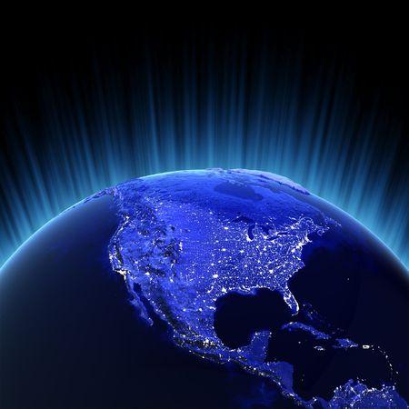 iluminado: Procesamiento de 3d de volumen de América. Mapas de imágenes de la NASA