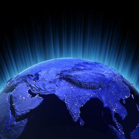 Indien Volume 3d Render. Karten von NASA-Bild