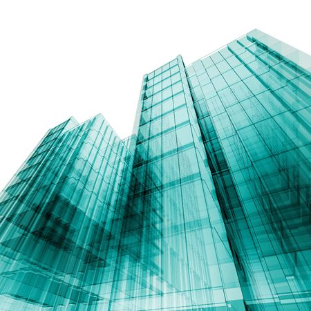 tall building: 3d skyscrapers. My personal concept architectural project Stock Photo