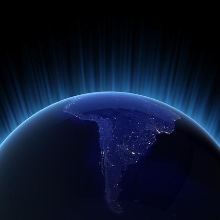 iluminado: Luces de la ciudad de América del Sur.  Foto de archivo