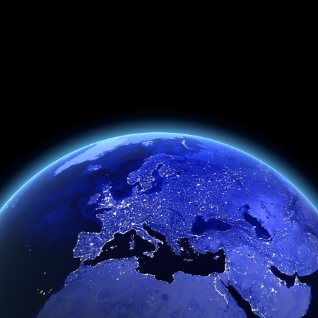 geography of europe: Europe 3d render. Maps from NASA imagery