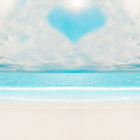Love clouds over tropical beach. Summer vacations Stock Photo - 8387915