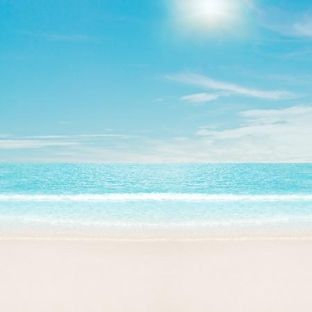 Sun over tropical beach. Summer vacations photo
