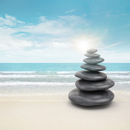 feng shui: Pebble stones on beach. 3d and photo montage Stock Photo