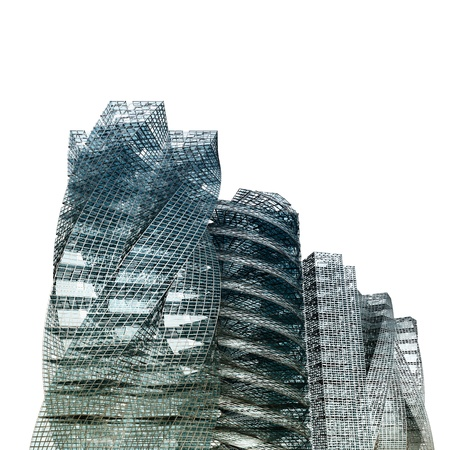 copyrights: City skyscrapers white isolated. No copyrights - my concept project, not real building