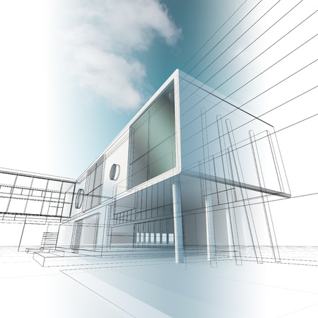 Construction architecture. High quality 3d render photo