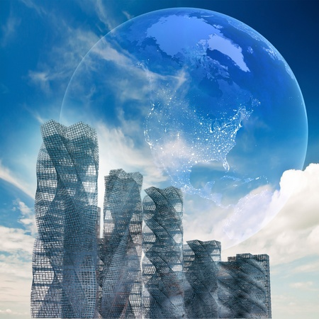 copyrights: Global futuristic architecture. No copyrights - my concept project, not real building. Map from NASA