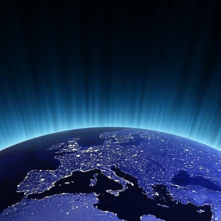 europe: Europe at night. Maps from NASA imagery Stock Photo
