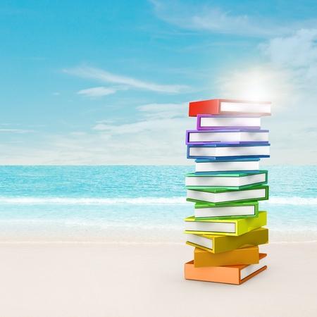 book concept: Rainbow books near beach. 3d and montage