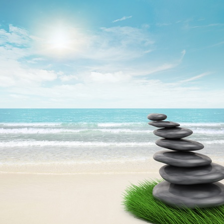 inclination: Zen-like stones inclination. 3d and montage Stock Photo
