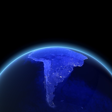 South America 3d render. Maps from NASA imagery photo