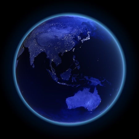 Asia and Australia. Maps from NASA imagery photo