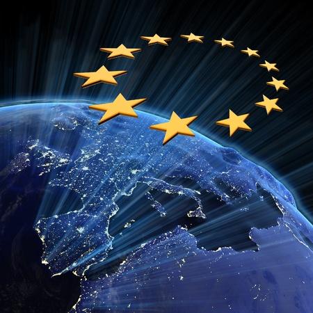 mapa de europa: Luces de la ciudad de la Uni�n Europea.