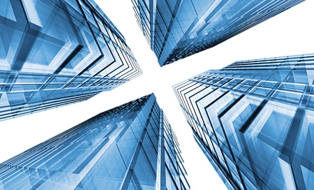 copyrights: Blue skyscrapers. No copyrights, my architecture project Stock Photo