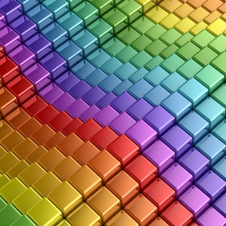 Rainbow cubes. 3d render image Stock Photo - 8712640