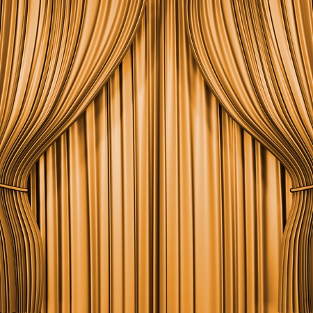 sipario chiuso: Cortina di oro. immagine di rendering 3D Archivio Fotografico