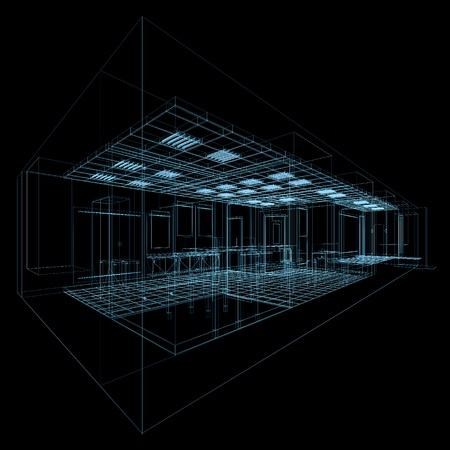 copyrights: Concept office. No copyrights, my architecture project Stock Photo