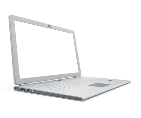 powerbook: Silver laptop angle view. 3d isolated on white